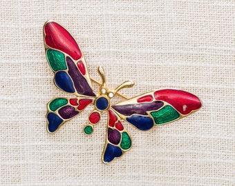 Vintage Enamel Butterfly Brooch 1980s 90s Mutlicolor + Gold Broach Vtg Pin 7ii