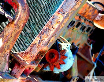 Rusty Relic - Old Tractor - Rustic Wall Art - Retro Print - Vintage Photography - Garage Art - Teal - Abstract - 8x10
