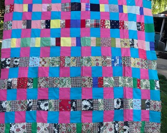 Vintage Machine Pieced Patchwork Quilt Top Set in Pink and Turquoise