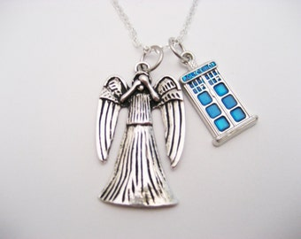 Weeping Angel Necklace, Tardis Necklace, Tardis Jewelry, Whovian, Weeping Angel Jewelry