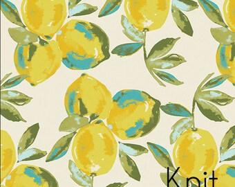 Yuma Lemons Mist in Knit from Art Gallery's Sage -Lemon Knit fabric - Jersey Knit cotton stretch fabric