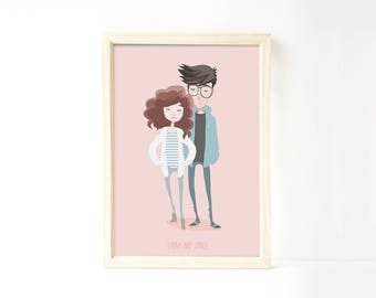 Custom portrait of couple, Custom couple illustration, personalized drawing, family illustration with pets, wedding gift, wedding portrait
