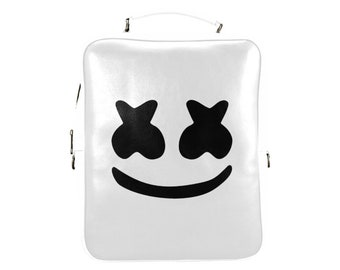 White Custom Marshmello Leather Square Box Backpack - Custom Backpack By ElectricKravingz - Custom Made Backpacks