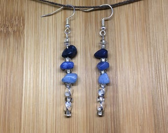 Silver  and Shades of Blue Earrings