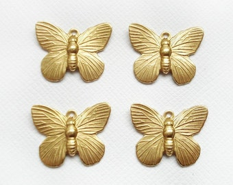 4 Raw Brass Butterfly Connector Charms 1 Ring