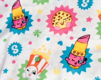 """End of Bolt, Shopkins Flannel Fabric by the yard - Bright Colors 31""""x44"""""""