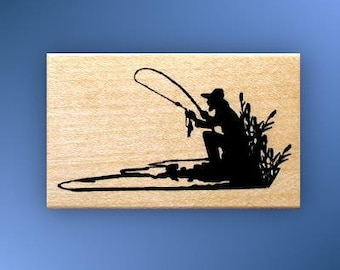 FISHERMAN SILHOUETTE Mounted fishing rubber stamp lake, men, masculine, Father's Day, Sweet Grass Stamps No.14