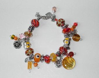 Orange Lampwork charm leather  bracelet (#305)