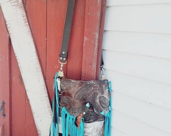 Turquoise feather fringe purse