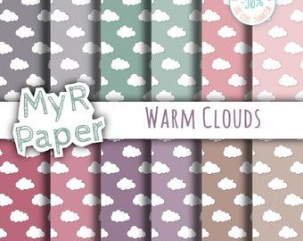 "Clouds Digital Paper Pack: ""Warm Clouds"" - Printable Background - Cloud pattern, cloudy sky, Baby Shower - 12x12 - Digital Scrapbooking"