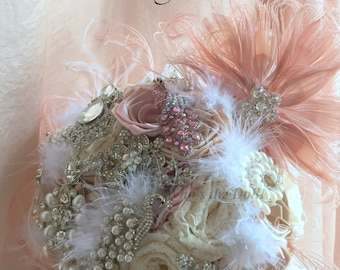 Bridal bouquet/1920 bouquet/The Pink Peacock/Blush Pink and Ivory bouquet/Lace bouquet/Handmade bouquet/made to order