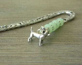 Chihuahua Bookmark with Mint Green Glass Beads Flower Shepherd Hook Bookmark Silver Color