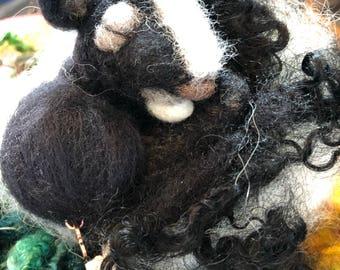 Needle Felted Sleeping Baby Skunk