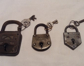 Three Vintage Metal Padlocks with Keys - POLAND,BULGARIA,GERMANY