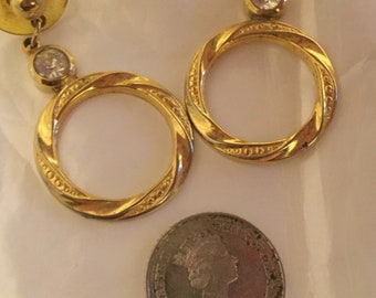 Vintage Gold Toned Hoop earrings with posts 80's