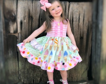 Ice Cream dress birthday party Ice Cream Parlor boutique dress girls toddler