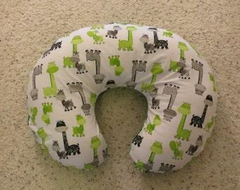 Giraffe minky backed EMIJANE Nursing pillow cover - fits Boppy