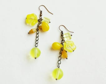 Yellow earrings for women, huge flower and beads big czech glass beads gift for her, long drop summer boho unique Latvia jewelry by kimachka