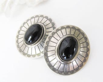 Onyx Sterling Silver Earrings, Concho Earrings, Vintage Native American Jewelry, Black Onyx Earrings, Southwestern American Indian Jewelry