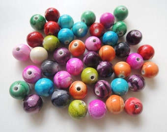 60Pcs  Mixed color   Acrylic Beads -10mm (S070)