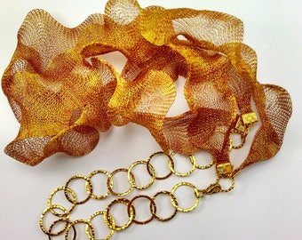 Rust Titanium Mesh  2 strand Necklace ( New ) 106A