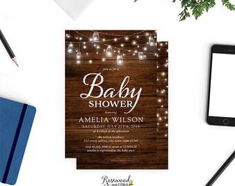 Printable Baby Shower Invitation, Mason Jars Rustic Baby Shower Invitation, Brown Wood Baby Shower Invite, Gender Neutral, Strings of Lights