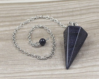 Blue Sandstone Point Pendulum Pendant -- Healing Crystal Point Pendant with Silver Plated bail Wholesale 1,3,5,10,50,100