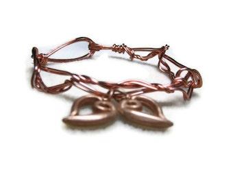 Heart Bracelet, Copper Heart Bracelet, Copper Metalwork Bracelet