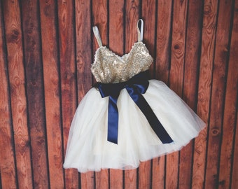Navy Flower Girl Dress, Tulle, Sash Belt set, Gold sequin dress, Gold Wedding, Gold glitter dress, Ivory tutu dress, Red Navy Pink Gray