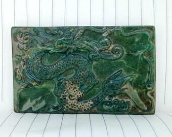 Antiqued Jade Pendant Dragon One of the four beasts: Qinglong Amulet Antique Design Talisman