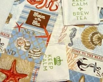 Tea Bag Wallet, BEACHY-COASTAL, Four Pockets, Handmade, FREE Shipping USa, Holds Tea & Sweetener - Also Travel Jewelry Wallet