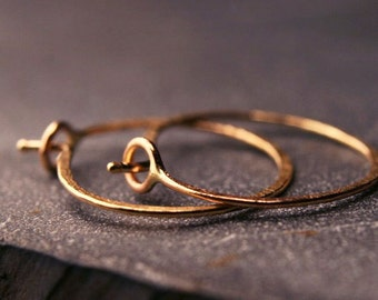 Hammered hoops in solid 18 karat yellow gold tiny  1/2 inch