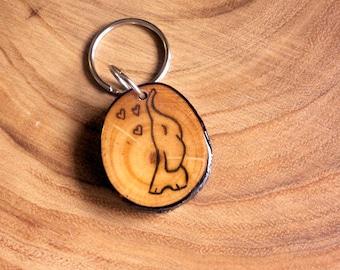 Lucky Elephant Keychain, Wooden Keychain, Elephant Keyring, Wood Slice Keychain, Cute Elephant Keychain, Wood Burned Elephant, Pyrography