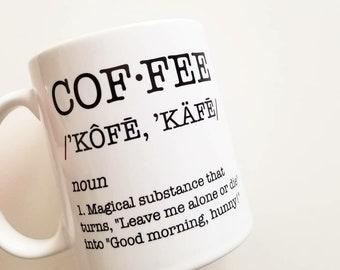 Handmade Coffee Definition Mug - Handmade Coffee Mug - Handmade Coffee Cup - Humorous Coffee Cup - Funny Mug