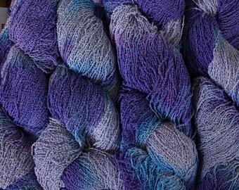 Fine Cotton Boucle, Hand-dyed yarn - Hyacinth tonal,  300 yds.