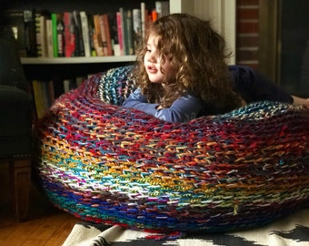 Beanbag chair SLIPCOVER - crochet slipcover - crochet floor pillow - bean bag chair - floor seating - chunky knit - multicolored - chair