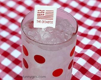"""Patriotic Personalized Plastic Drink Stirrers {Square-6""""}"""