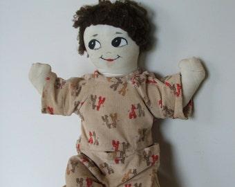 Mid Century Cloth Doll with handmade corduroy giraffe print pajamas