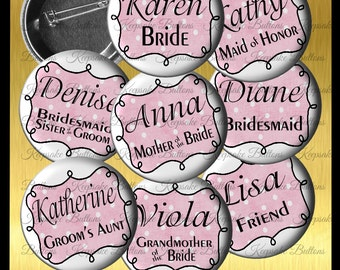 "Bridal Shower Buttons, 2.25"" Custom Wedding Shower Name Pins, Bachelorette Party Buttons, Pin Back Button, Party Favor Buttons"