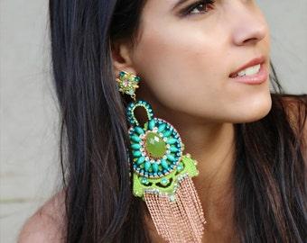 Green Luxurious  earrings, big earrings, One of a kind  earrings, unique earrings, gold earrings, extravagant earrings, rose tassel earrings