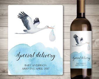 Custom Wine Label - Pregnancy Announcement - Baby Announcement Wine Bottle Label - Special Delivery - Stork Carrying a Baby