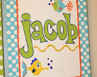 Children's FUNNY FISH Inspired 11x14 Personalized PAINTING