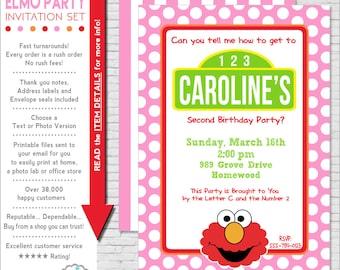 Elmo Invitation | Elmo Birthday Invitation | Girl Elmo Party Invitation Printable | Sesame Street Invitation | Amanda's Parties To Go