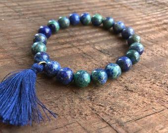 Lapis Lazuli Chrysocolla Mala Bracelet, Chakra Bracelet, Healing Meditation Bracelet, Yoga Bracelet, Wrist Mala, Throat Chakra Tassel