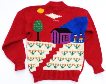 1970s Happy Landscape Handknit Intarsia Sweater