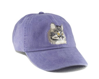 Maine Coon cat embroidered hat, baseball cap, cat mom gift,  pet lover gift, cat lover, cat mom, dad hat, animal hat, kitten