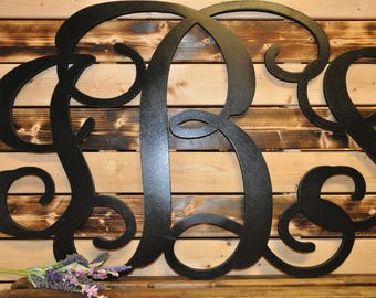 Monogram Wooden Sign - Wedding Sign - Nursery Sign - Monogrammed Sign - Monogram Wall Sign - Large Monogram - Dorm Monogram-Wall Letters