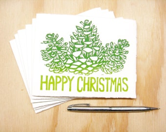 Greeting Cards - Happy Christmas Pinecones - Set of 6 - Block Printed Cards - Merry Christmas