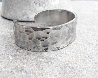 Hammered Cuff Bracelet, Stainless Steel Cuff, Wide Hammered Cuff, Artisan Jewelry