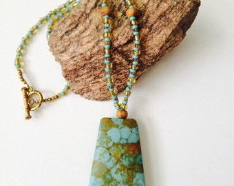 Turquoise-Trapezoid Necklace & Bracelet Set.